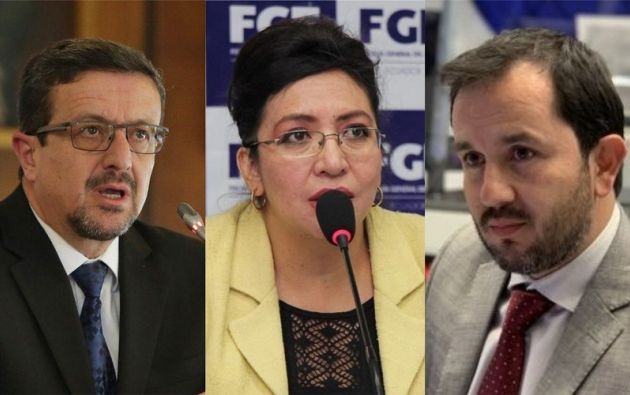 El procurador, Íñigo Salvador; la fiscal general del Estado, Ruth Palacios; y el secretario Anticorrupción, Ivan Granda. Foto: collage Vistazo