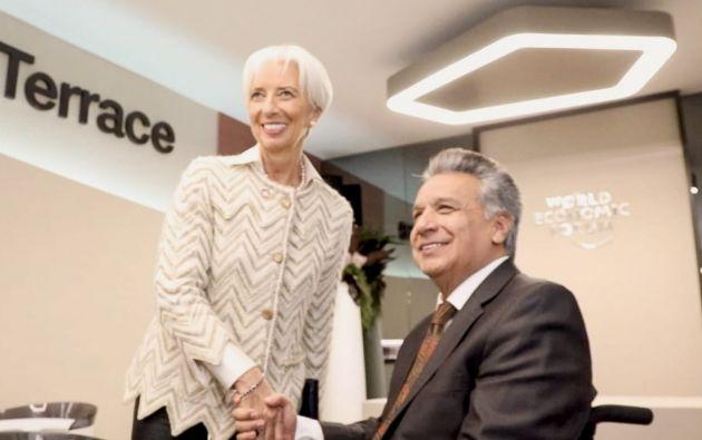 En enero, Moreno viajó al Foro de Davos para reunirse, entre otros, con la directora gerente del FMI, Christine Lagarde. Foto: archivo