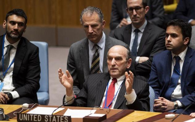 """""""Creo que tendremos una resolución esta semana, que sin duda llamará a la admisión de ayuda humanitaria en Venezuela"""", adelantó Elliott Abrams. Foto: AFP"""