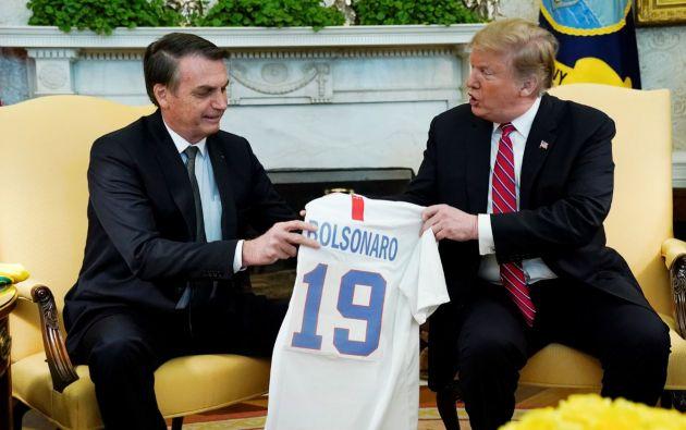 """""""Es el comienzo de una asociación centrada en la libertad y la prosperidad"""", destacó Bolsonaro, quien está orgulloso de ser comparado con Trump. Fotos: Reuters."""