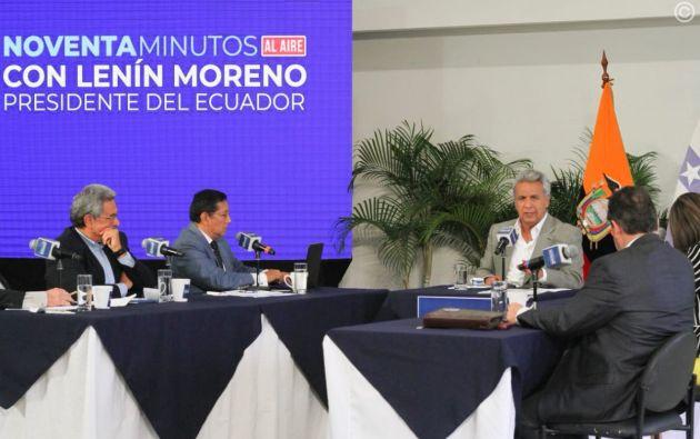 """""""¿Ustedes creen que yo, a una empresa offshore donde ocultaba dinero mal habido, le iba a poner el nombre de mis hijas?, dijo Moreno. Foto: @ComunicacionEc"""
