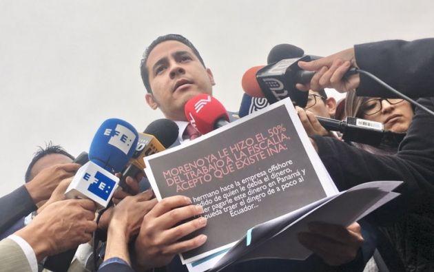 """""""(Moreno) dice que fue constituida en Panamá cuando fue constituida en Belice por su hermano, el señor Edwin Moreno"""", comentó Aleaga."""