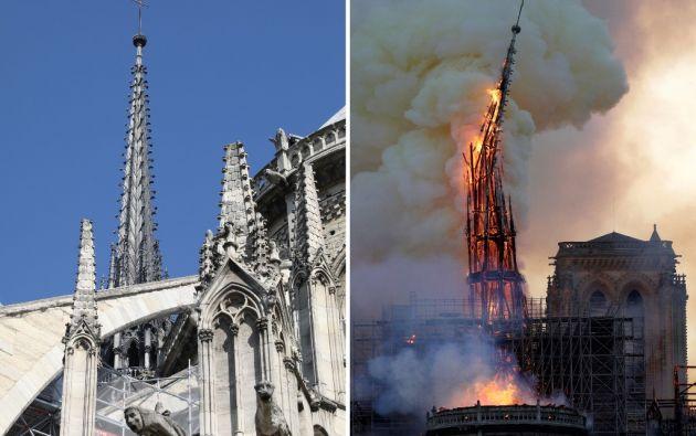 Momento en el que cae la aguja central de Notre Dame. Foto: AFP.