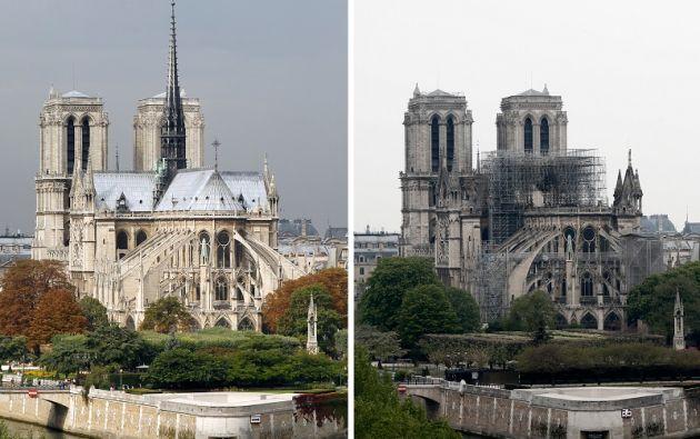 Una imagen combinada muestra vistas de la catedral de Notre-Dame antes y después de un incendio masivo que devastó gran parte de la estructura gótica en París. Foto: Reuters