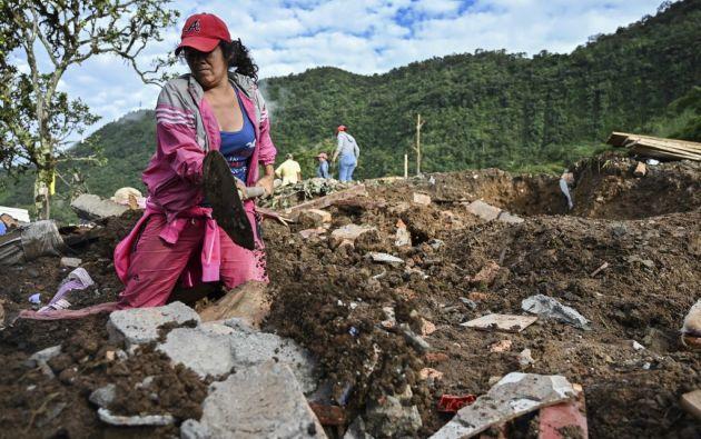 Un deslave sepultó ocho viviendas de una zona rural en el suroeste de Colombia. Foto: AFP.