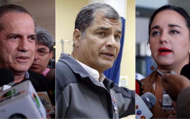 Ricardo Patiño, Rafael Correa y Gabriela Rivadeneira. Foto: archivo