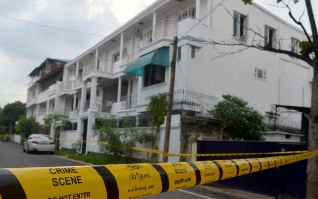La casa donde ocurrió una redada lanzada por las fuerzas de seguridad de Sri Lanka en Colombo, después de una explosión suicida el 21 de abril. Foto: AFP