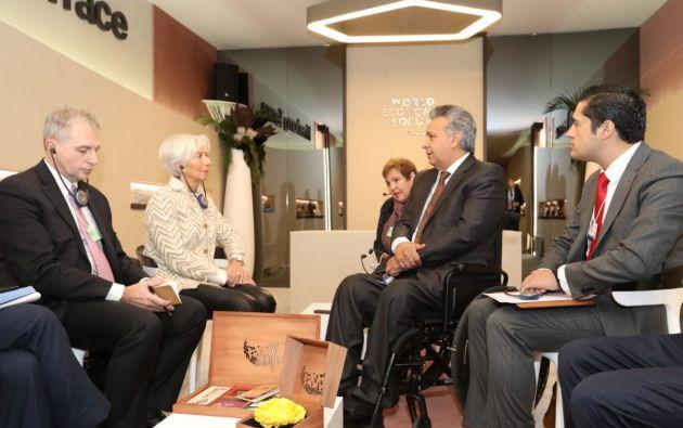 TIEMPO RÉCORD.  A finales de enero pasado se reunieron representantes del FMI con el Presidente Lenín Moreno y el Ministro de Finanzas Richard Martínez. Casi un mes después oficializaron el acuerdo.