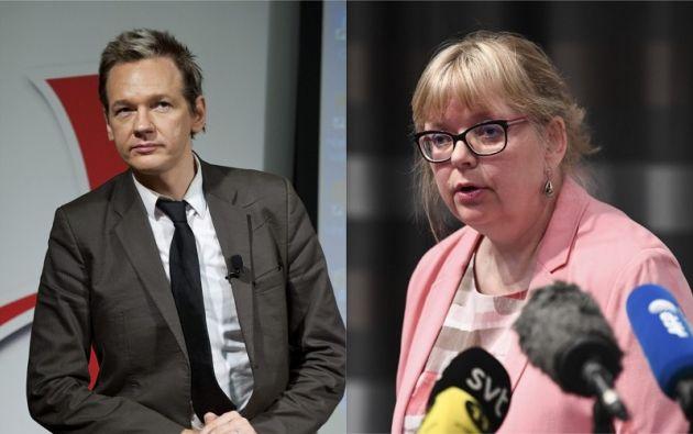 A la izquierda, Assange posa en Estocolmo el 14 de agosto de 2010. A la derecha, la directora adjunta de la Fiscalía, Eva-Marie Persson. Fotos: AFP