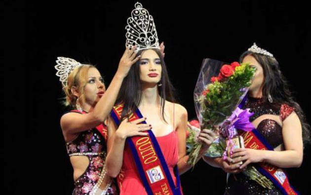 Mathilde Barragán, reina trans de Quito, en su coronación | Foto tomada de Diario La Hora