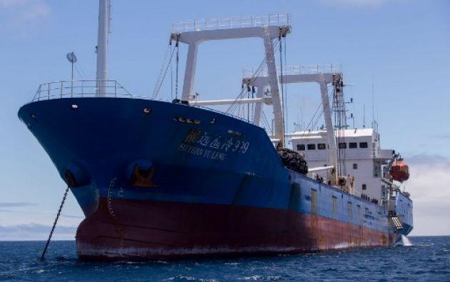 """El buque chino de nombre """"Fuyuanyuleng 999"""" fue capturado el 13 de agosto de 2017 en la reserva marina."""