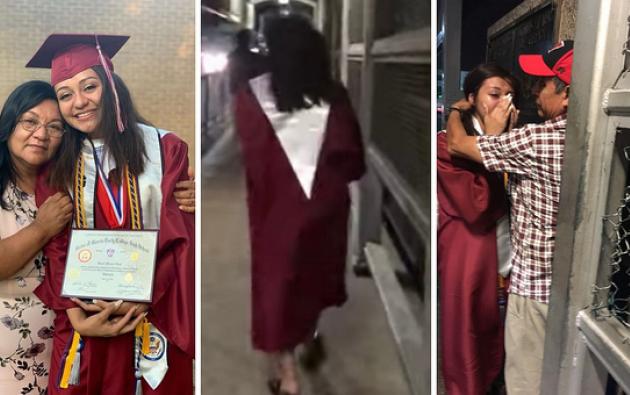 Después de su graduación Sarai Ruiz corrió hacia la frontera para abrazar a su padre.
