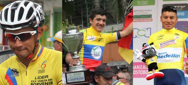 Jhonatan Narváez, Richard Carapaz y Jonathan Caicedo, durante su paso por Colombia. Foto: Federación Colombiana de Ciclismo.