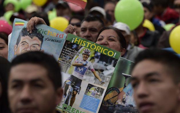 Carchi celebró el éxito deportivo de Richard Carapaz. Foto: AFP.