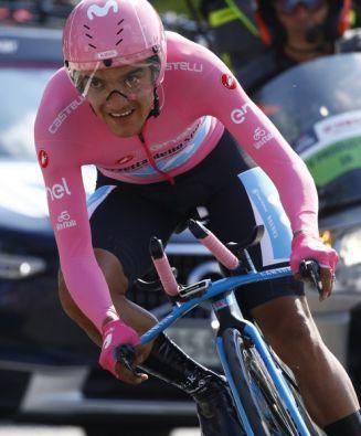 El ciclista carchense ganó el Giro de Italia. Foto: AFP.
