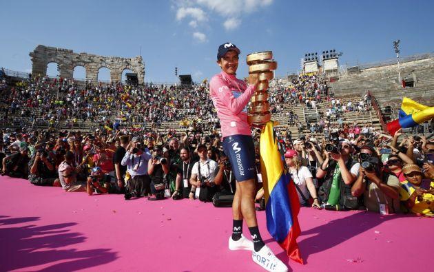 El ciclista carchense ganó el Giro de Italia, el primer triunfo ecuatoriano en una de las tres grandes vueltas del mundo. Foto: AFP.