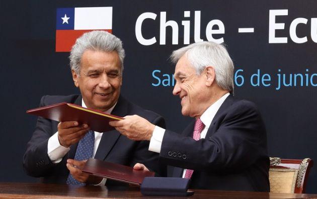 Piñera recibió a Moreno en el palacio presidencial de La Moneda, donde ambos encabezaron el V Consejo Interministerial Binacional Chile-Ecuador. Foto: Flickr Presidencia