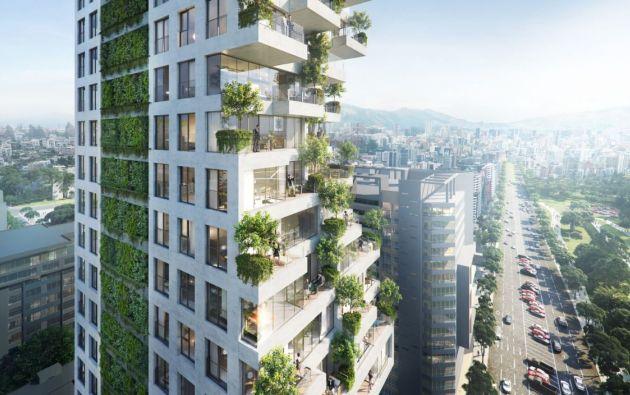 Qorner es una torre residencial de 24 pisos, tendrá viviendas apiladas verticalmente, a más de terrazas con árboles en cada nivel.