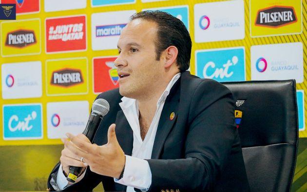 Francisco Egas, presidente de la Federación Ecuatoriana de Fútbol, analizará en los próximos días la continuidad de Hernán Darío Gómez. Foto: @FEFecuador.