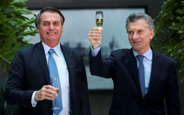 Jair Bolsonaro, presidente de Brasil, con Mauricio Macri, presidente de Argentina.Foto: Reuters