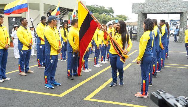 Ecuador envía a los Juegos Panamericanos de este año a la mayor delegación hasta la fecha, con 200 representantes. Tamara Salazar es la abanderada. Foto: Ministerio del Deporte.