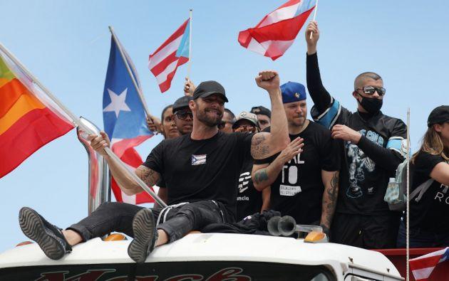 En la protesta participaron conocidos músicos puertorriqueños como Ricky Martin, René Pérez (Residente), Bad Bunny y Daddy Yankee. Foto: AFP