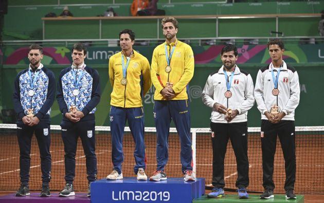 Gonzalo Escobar y Roberto Quiroz lograron medalla de oro en tenis. Foto: AFP.