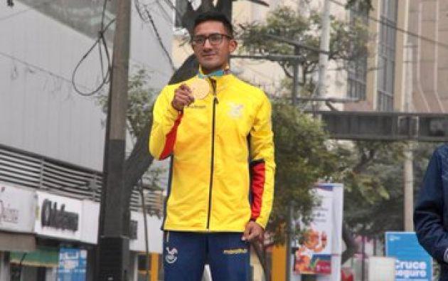 Daniel Pintado Álvarez ganó medalla de oro en la marcha de los Juegos Panamericanos de Lima. Foto: Secretaría del Deporte.