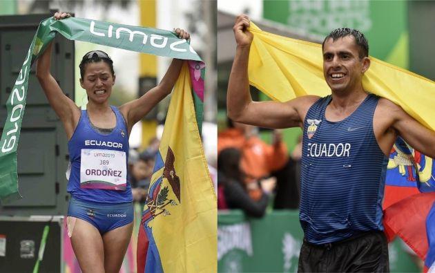 Tras la coronación de Claudio Villanueva, la marchista ecuatoriana Johanna Ordóñez hizo lo mismo en los 50 km de marcha. Fotos: AFP