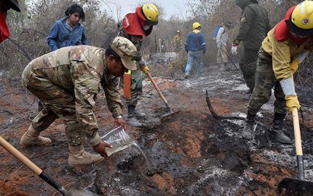 Según las autoridades nacionales, los incendios han afectado más de 700.000 hectáreas en la Chiquitania. Foto: AFP.