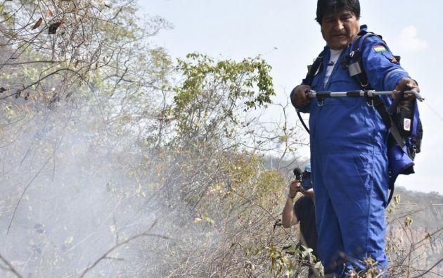 Evo Morales volvió a unirse este jueves a las brigadas que intentan apagar el incendio forestal en Santa Cruz. Foto: AFP.