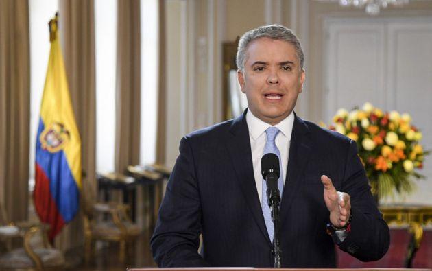 """""""Los colombianos debemos tener claridad de que no estamos ante el nacimiento de una nueva guerrilla"""", dijo Duque. Foto: AFP"""