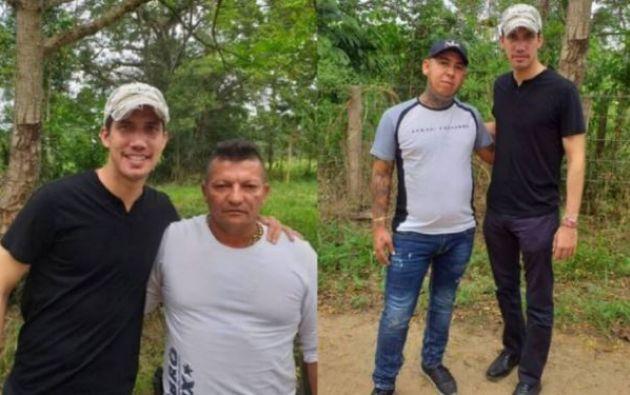 Los dos hombres al lado de Guaidó, están acusados por autoridades colombianas de pertenecer a una banda criminal.