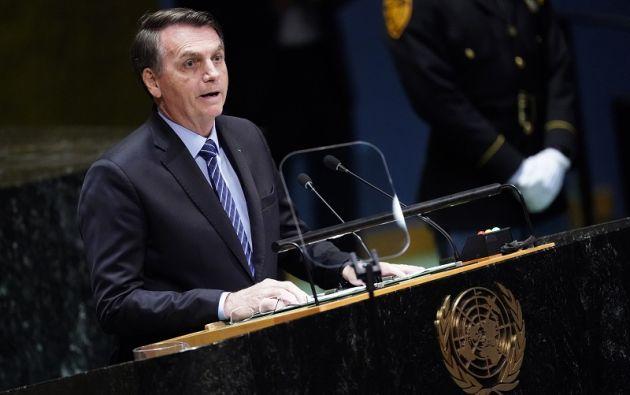"""""""La Amazonia no está siendo devastada ni consumida por el fuego como dice mentirosamente la prensa"""", aseguró en su discurso. Foto: Reuters"""