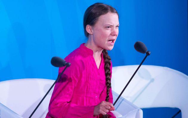 """""""¿Todos ustedes vienen a mí por esperanza? ¡Cómo se atreven! Han robado mis sueños y mi infancia con sus palabras vacías.""""- Thunberg. Foto: AFP."""