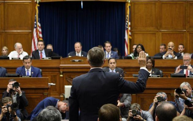 El Director Interino de Inteligencia Nacional, Joseph Maguire, testifica ante una audiencia del Comité Permanente de Inteligencia de la Cámara de Representantes. Foto: AFP