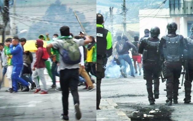 Esta vez, incluso, estudiantes armados con palos y piedras llegaron a la Gobernación de Carchi.