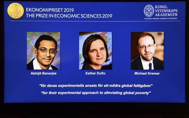 """El trío fue premiado """"por su enfoque experimental para aliviar la pobreza global"""". Foto: AFP"""