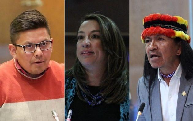 Luis Fernando Molina, asambleísta alterno nacional; Soledad Buendía y Carlos Viteri, asambleístas nacionales.