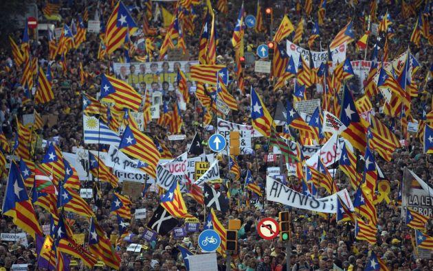 Se trató de la primera gran manifestación en Barcelona desde los disturbios de la semana pasada. Foto: AFP