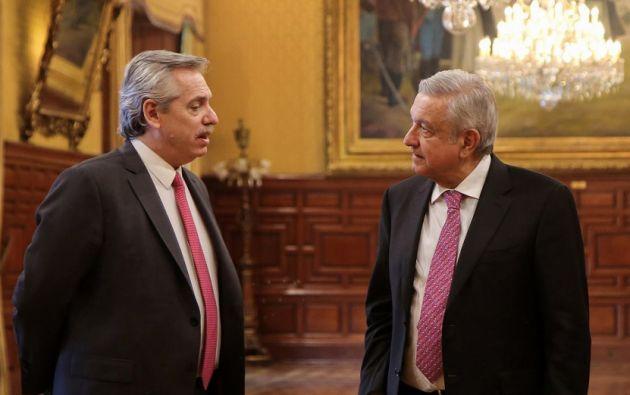 Fernández, realiza su primera visita internacional a México, donde se entrevistó con López Obrador. Foto: AFP