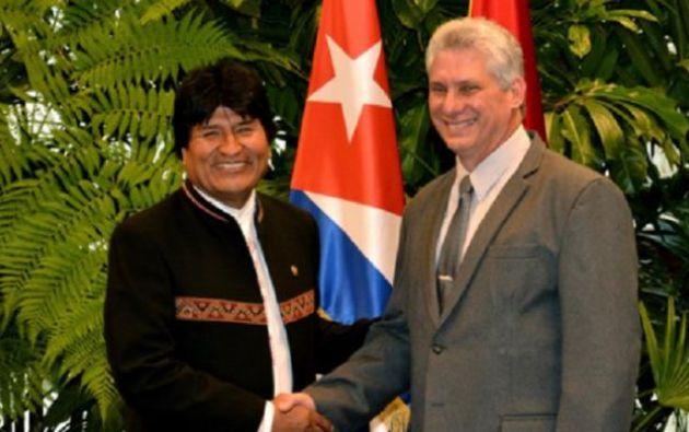 Evo Morales junto a Miguel Díaz-Canel presidente electo de Cuba.