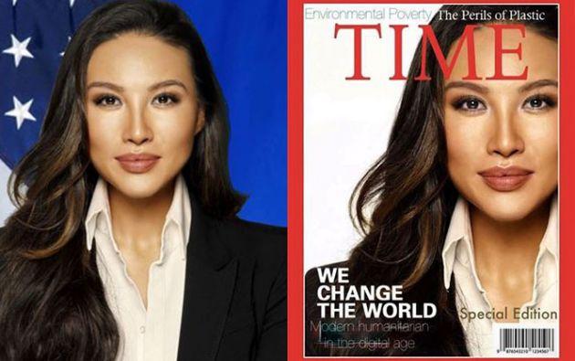 Mina Chang de 35 años usó en su hoja de vida una portada falsa de la revista Time.