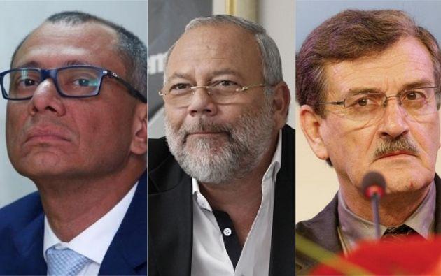 El exvicepresidente Jorge Glas, el exministro de Hidrocarburos, Carlos Pareja, y el exministro de Recursos no Renovables, Wilson Pástor.