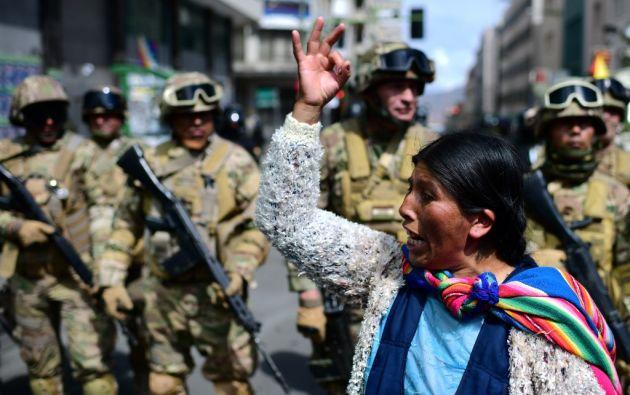 Desde la renuncia de Morales, sus partidarios se manifiestan todos los días para exigir la salida de Jeanine Áñez. Foto: AFP