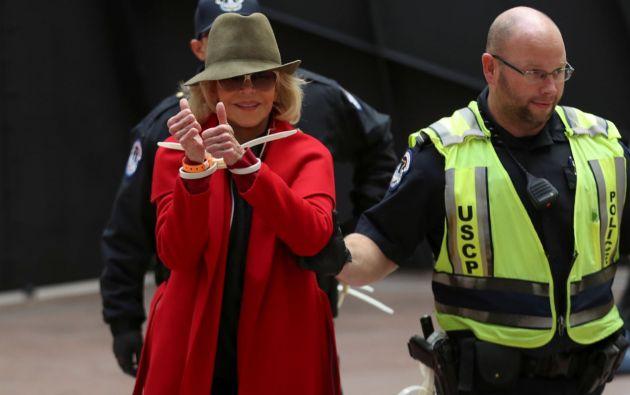 Fonda ha sido arrestada en un par de ocasiones durante su iniciativa Fire Drills Fridays (Viernes de simulacro de incendio). Foto: Reuters.