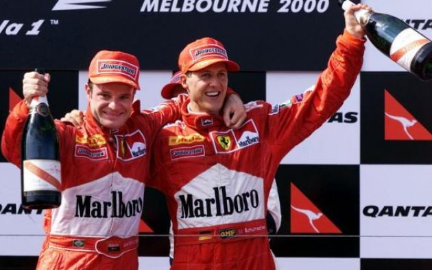 De 2000 a 2005 Rubens Barrichello y Michael Schumacher fueron compañeros de escudería en Ferrari. Foto: AFP.