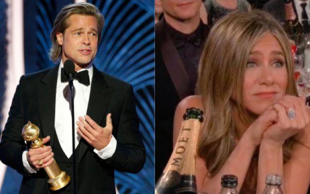 El rostro de Jennifer Aniston fue enfocado durante el discurso de Brad Pitt en los Globos de Oro. Foto: Reuters.