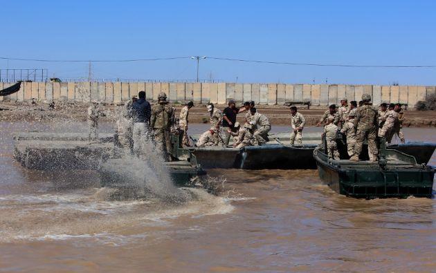 Militares estadounidenses en la base militar Camp Taji. Foto: AFP.