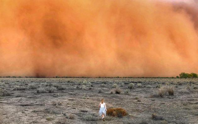 Imágenes impresiontantes tomadas durante el fin de semana en el occidente Nueva Gales del Sur muestran una impresionante tormenta de polvo que se dirige hacia ciudades del interior. Foto: AFP.